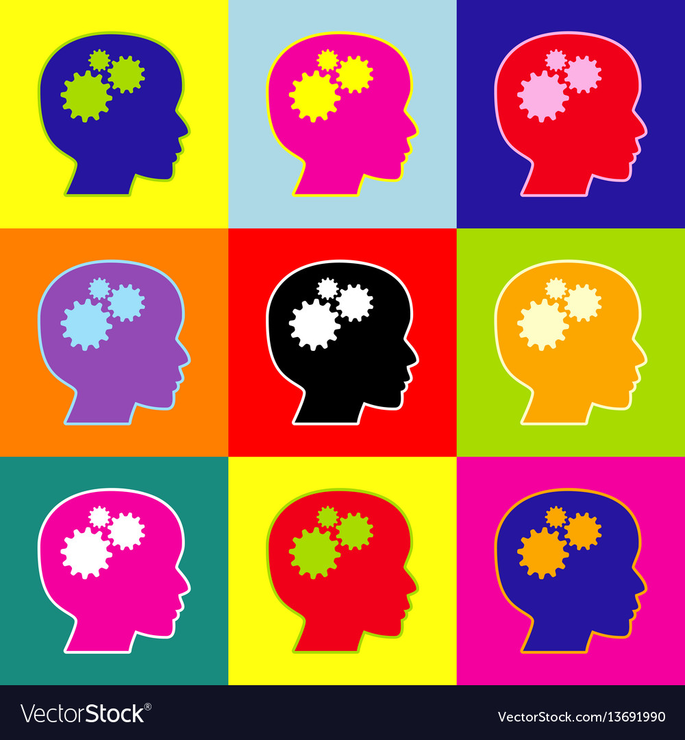 Thinking head sign pop-art style colorful