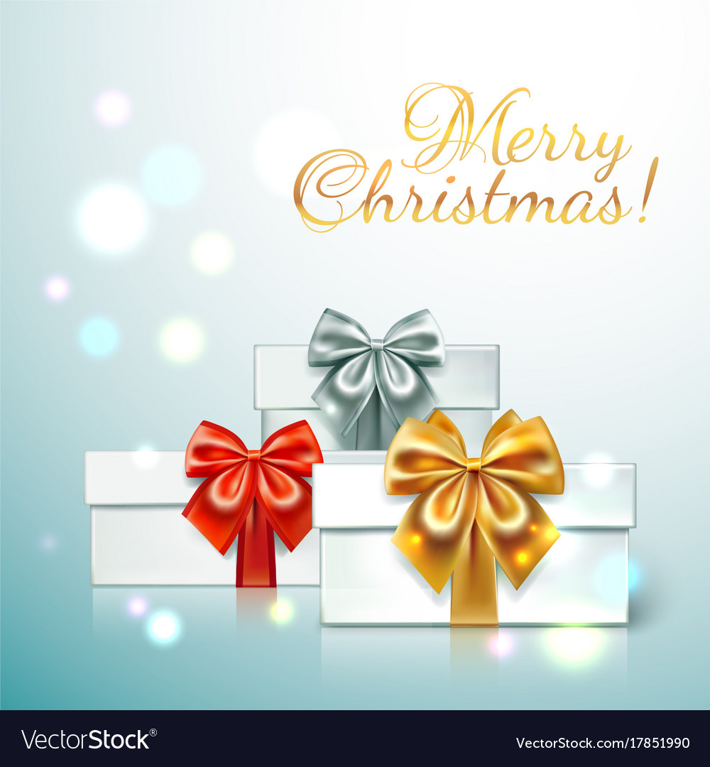Three gift boxes with with different colors of Vector Image