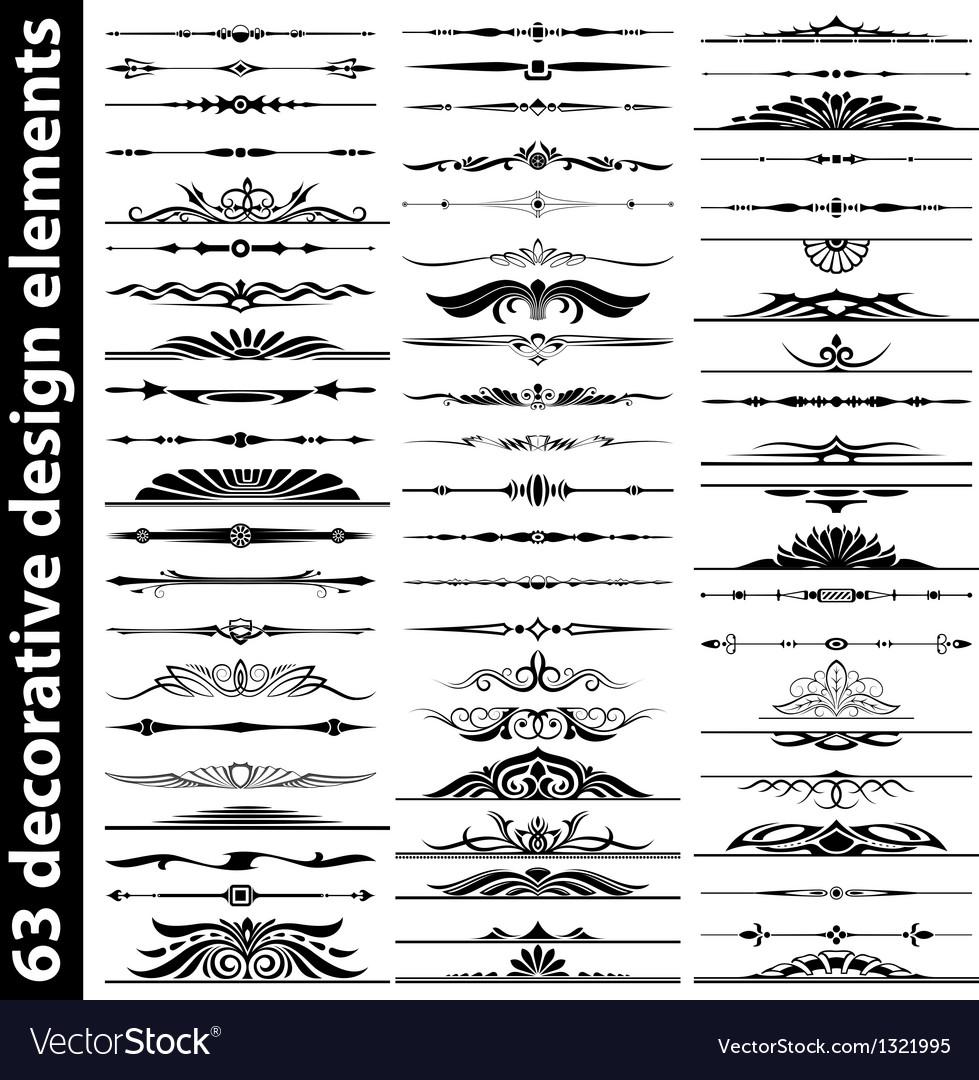 63 decorative design elements vector image