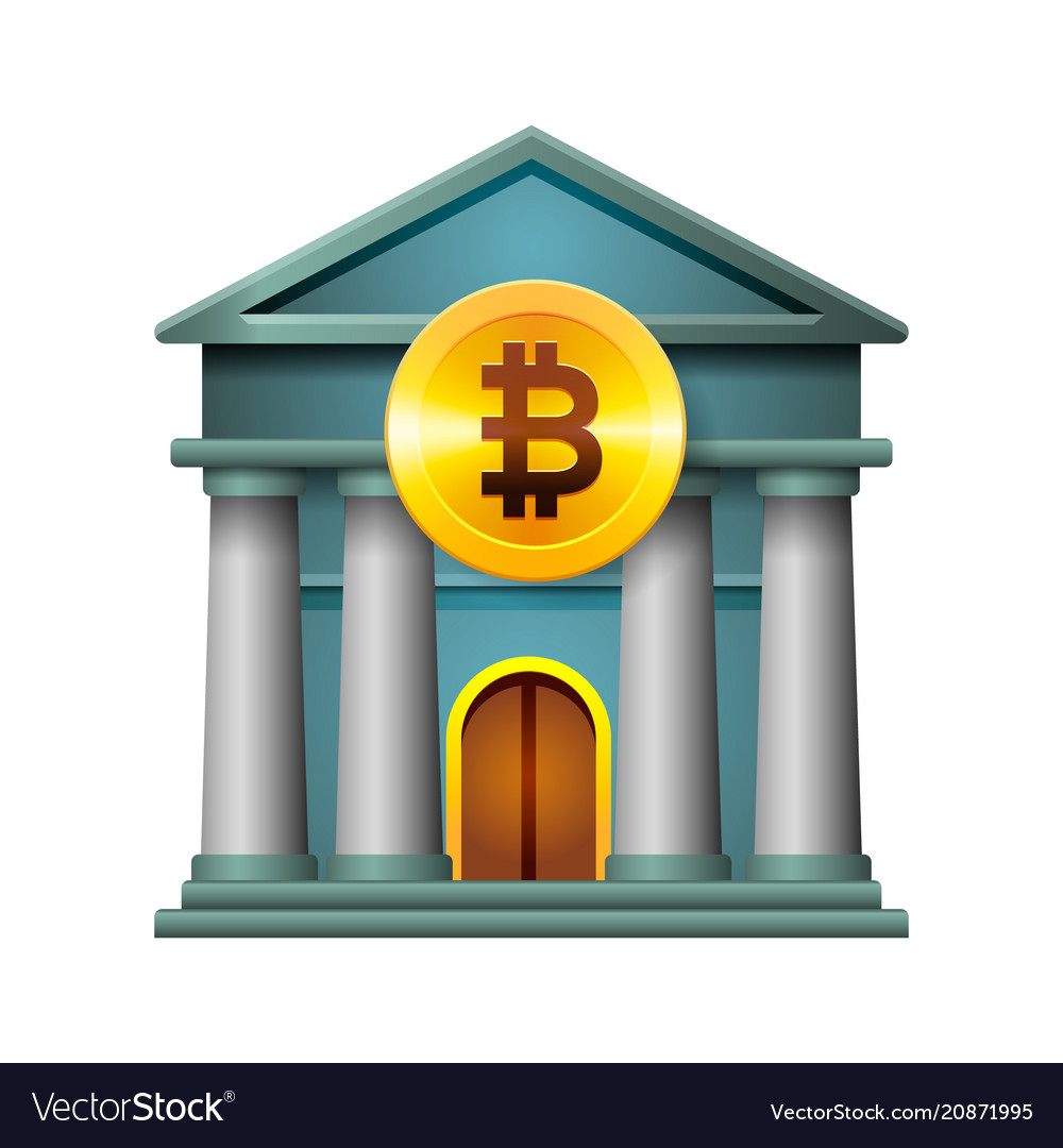 Bank icon modern design concept of cryptocurrency