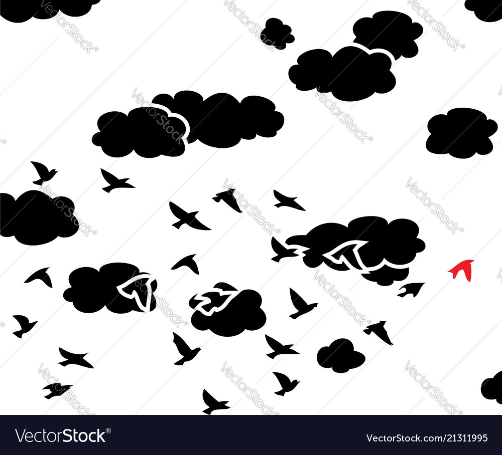 Black and white flying birds and clouds in the