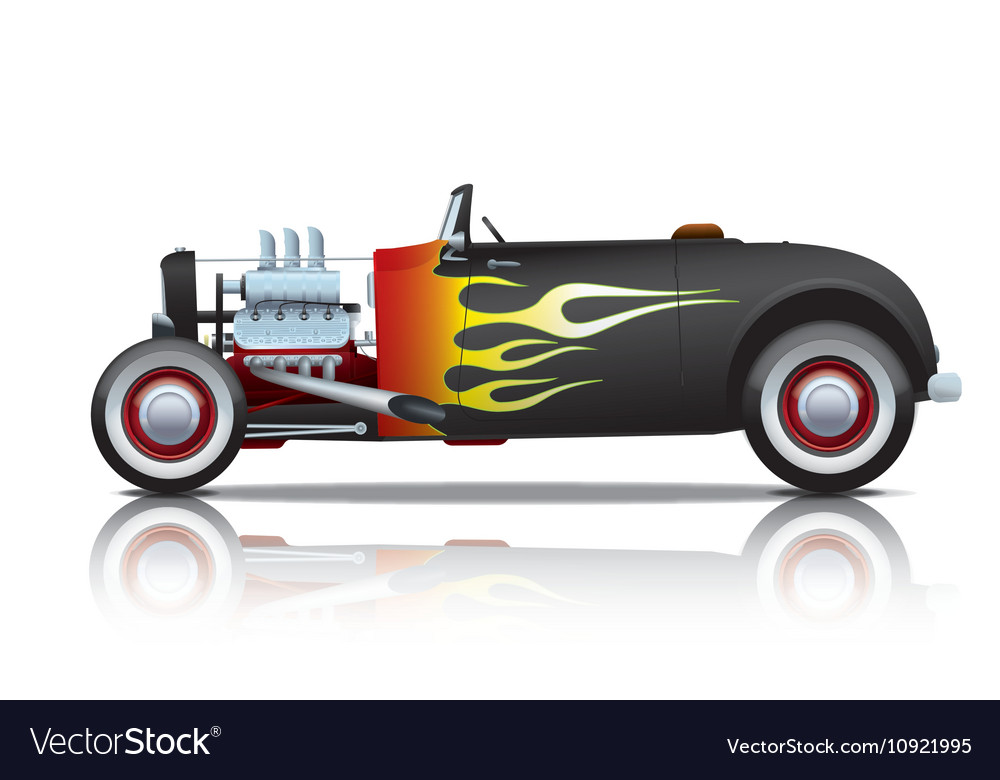 Black vintage hot rod with flames Royalty Free Vector Image