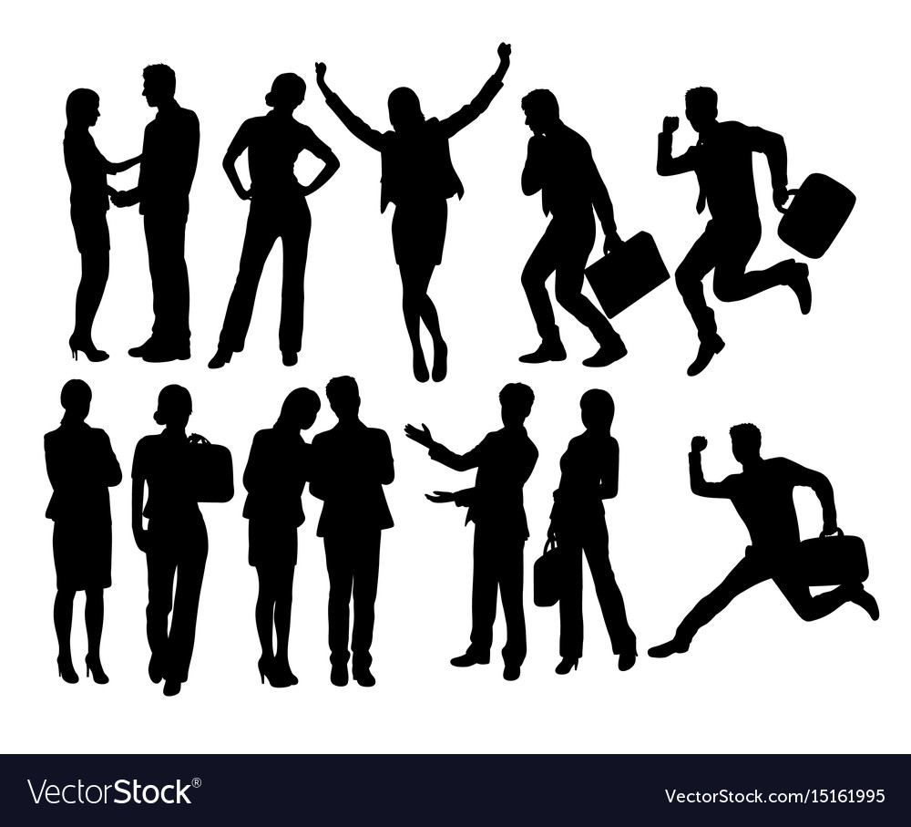 Business people and secretary activity silhouettes