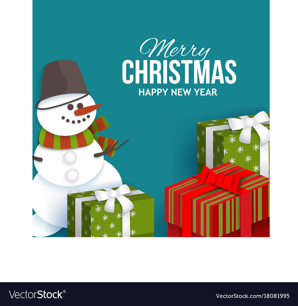 Christmas Greeting Card With Presents And Snowman