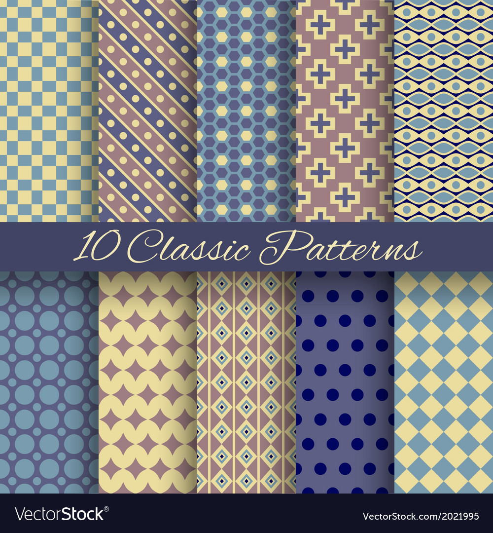 Classic different seamless patterns tiling