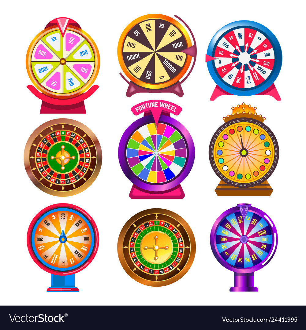 Fortune wheel and casino roulette isolated round