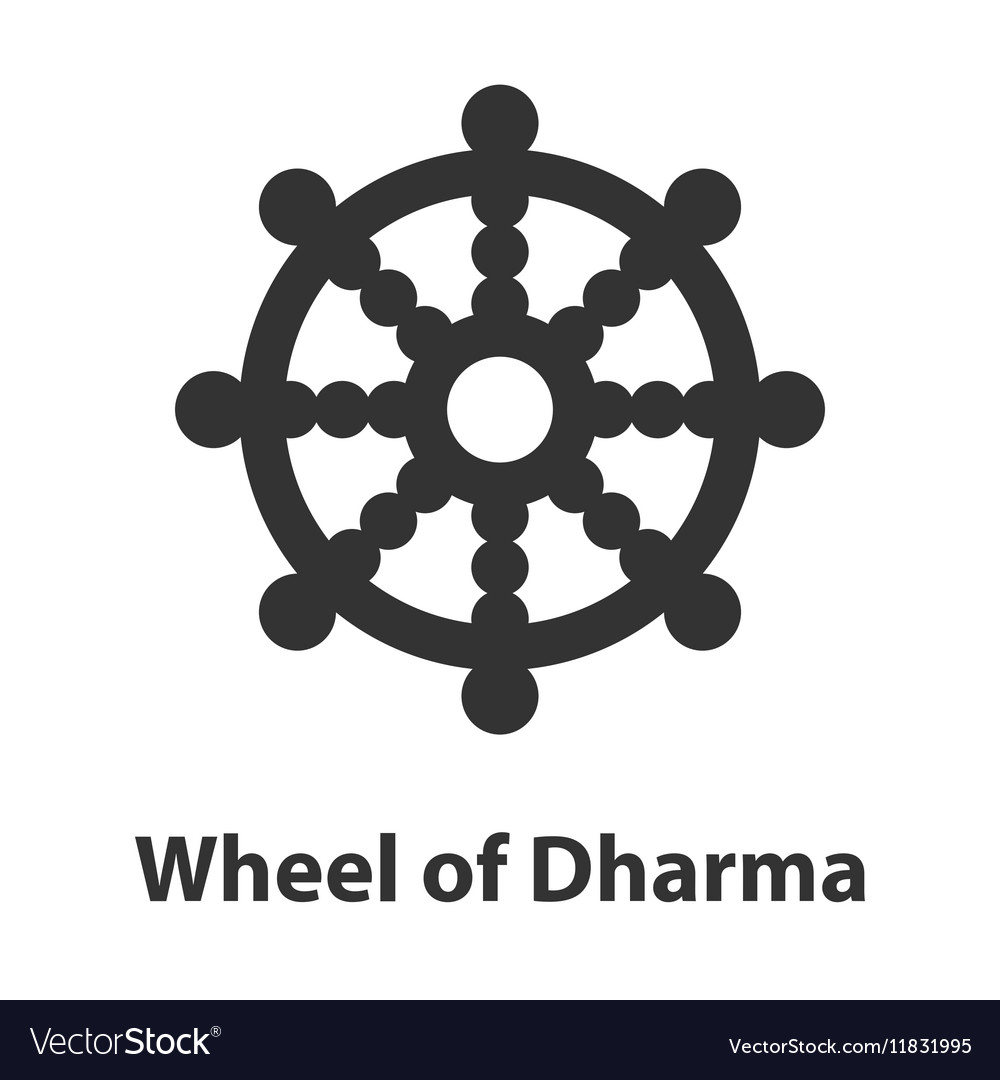 Icon Of Wheel Of Dharma Symbol Buddhism Religion Vector Image