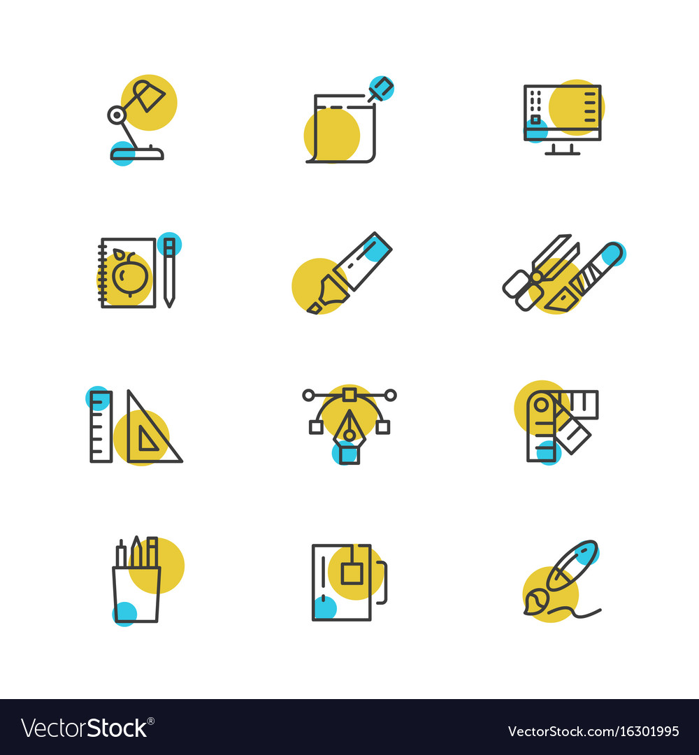 Office stationery thin line icons collection