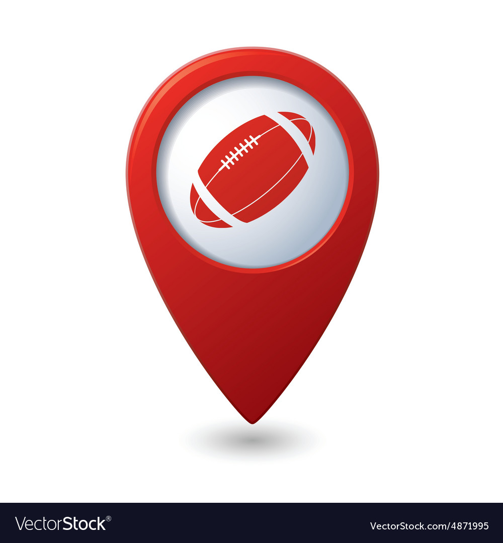 Red map pointer with american football icon vector image