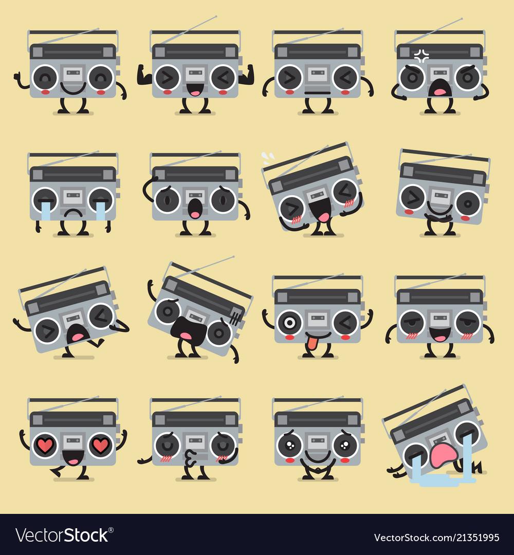 Retro radio character emoji set