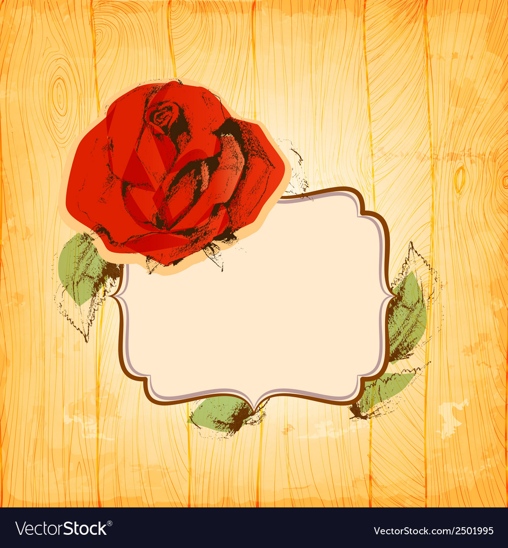 Rose frame over vintage wood texture background