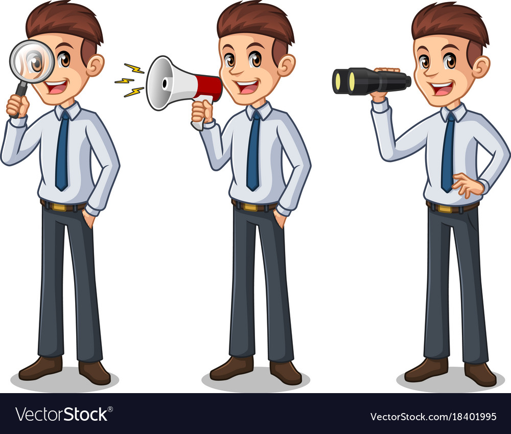 Set of businessman in shirt looking for poses