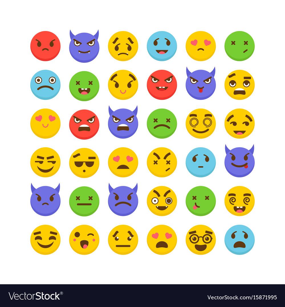 Set of emoticons kawaii cute emoji icons flat vector image