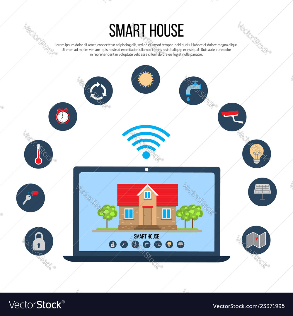 Smart house concept with laptop control