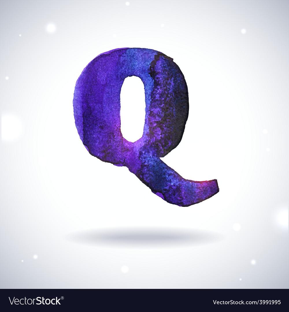 Watercolor letter Q