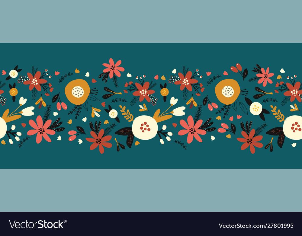 Winter autumn flowers seamless border
