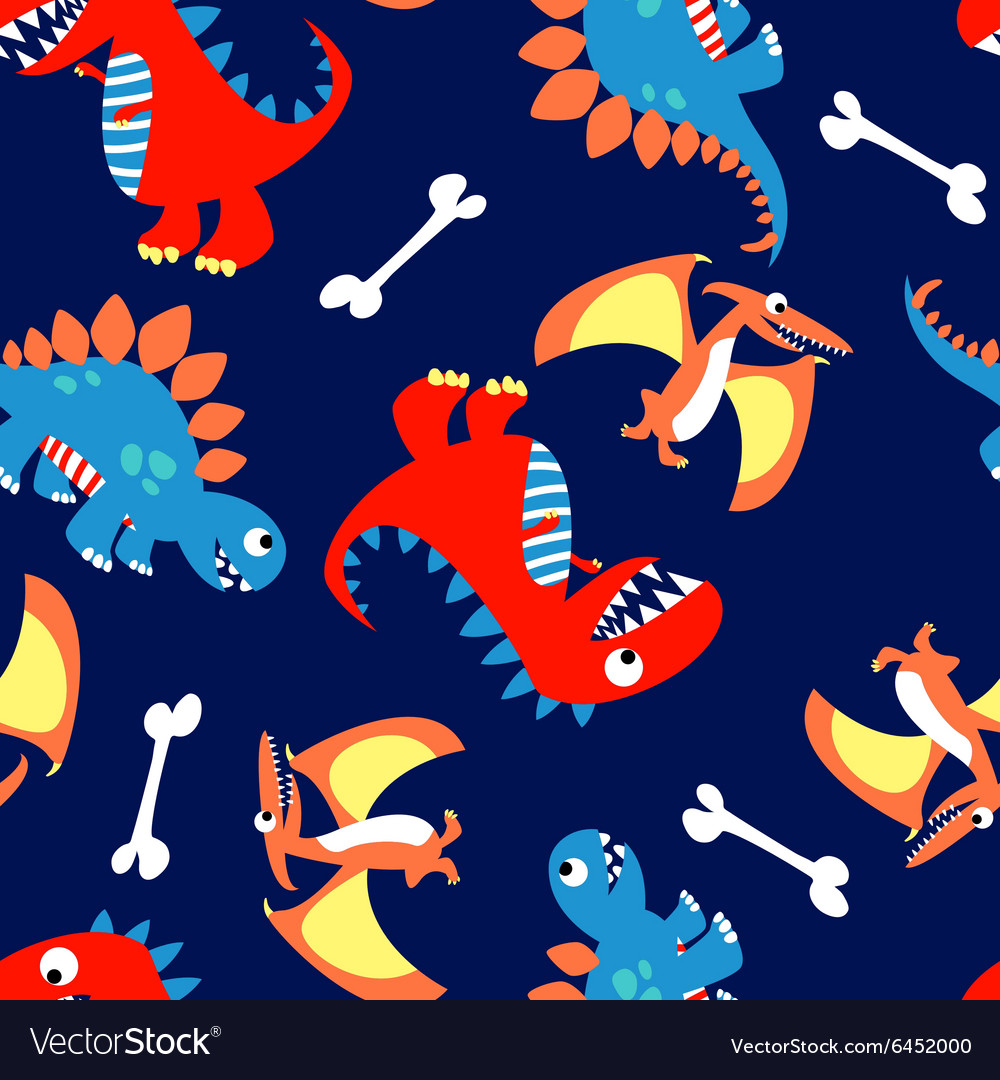 3 Cute dinosaurs in a seamless pattern