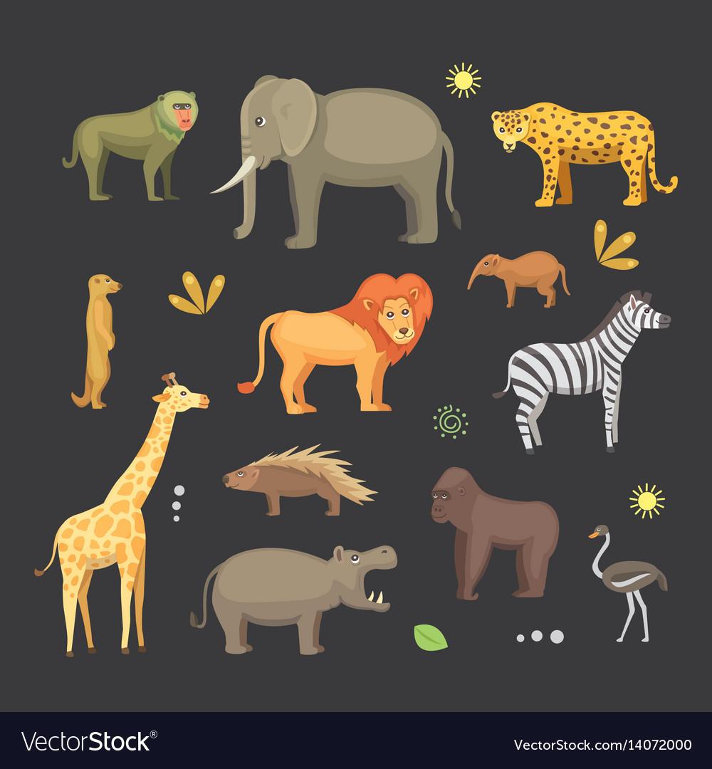 African animals cartoon set elephant