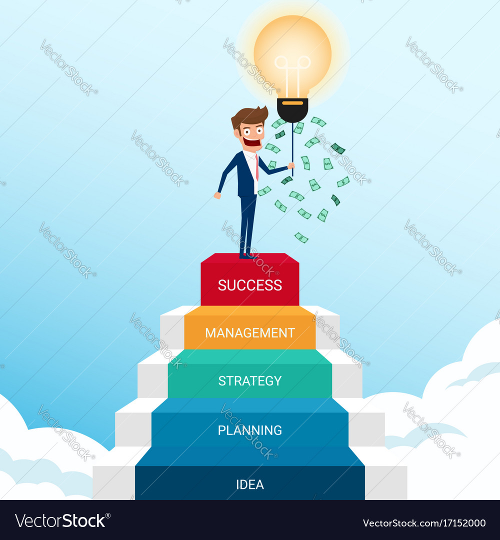 Businessman standing on stair and get money