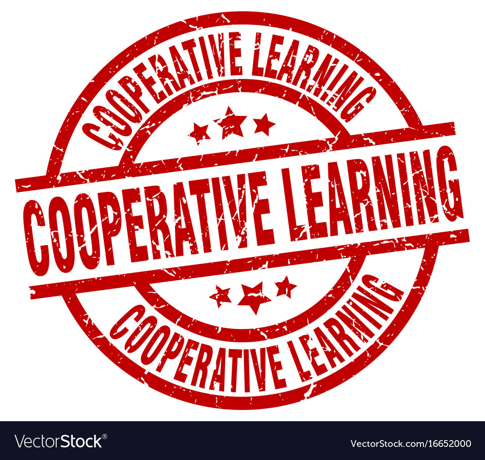 Cooperative learning round red grunge stamp