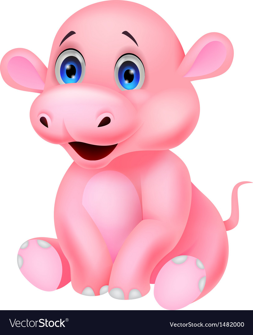 cute baby hippo cartoon royalty free vector image