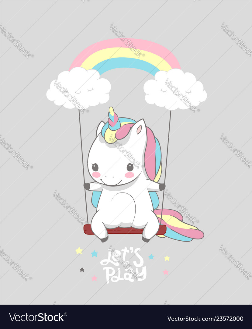 Cute Baby Unicorn Swing Rainbow Print Poster Vector Image