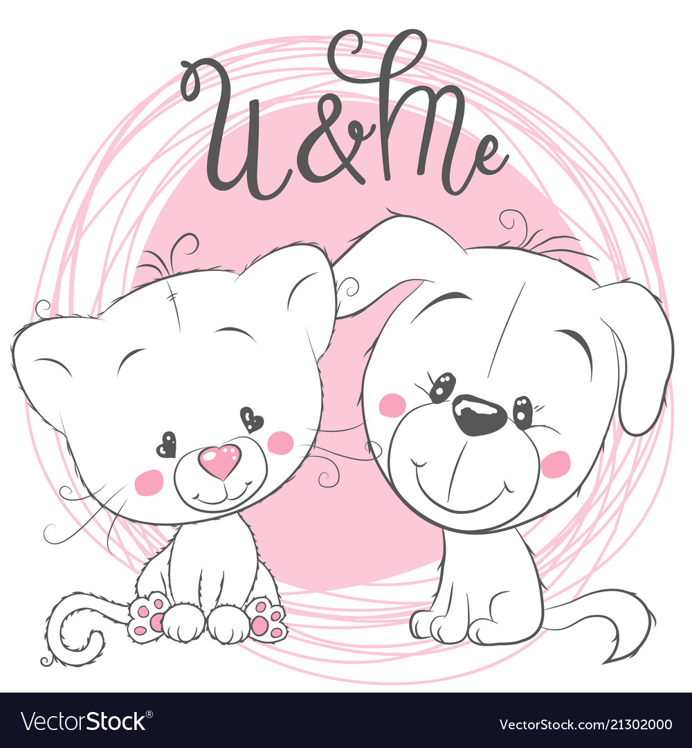 Cute cat and dog on a pink background