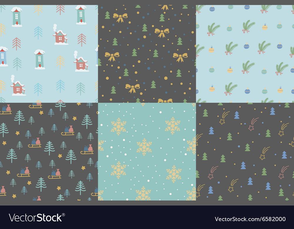Hand drawn winter holidays seamless patterns