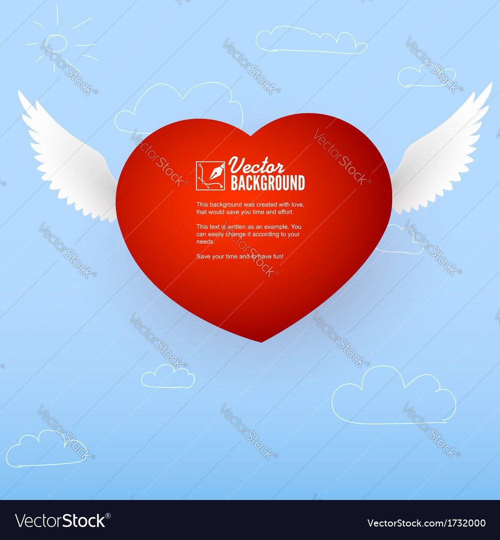 Heart with wings for the good and love messages