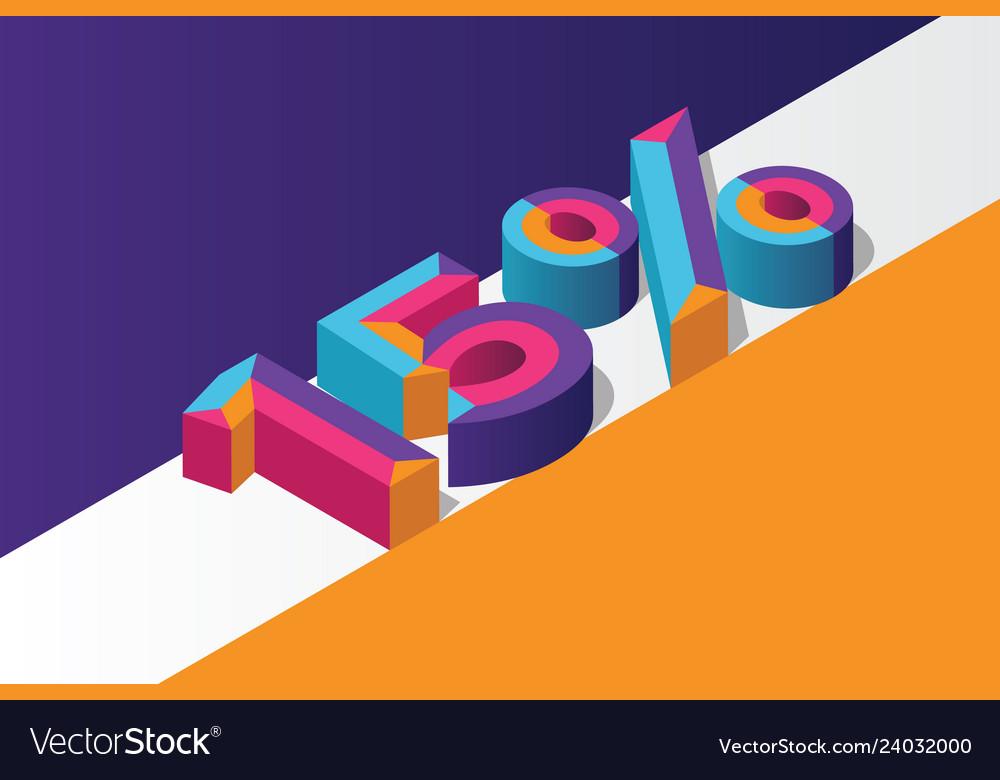 Isometric 15 percent off 3d sale background
