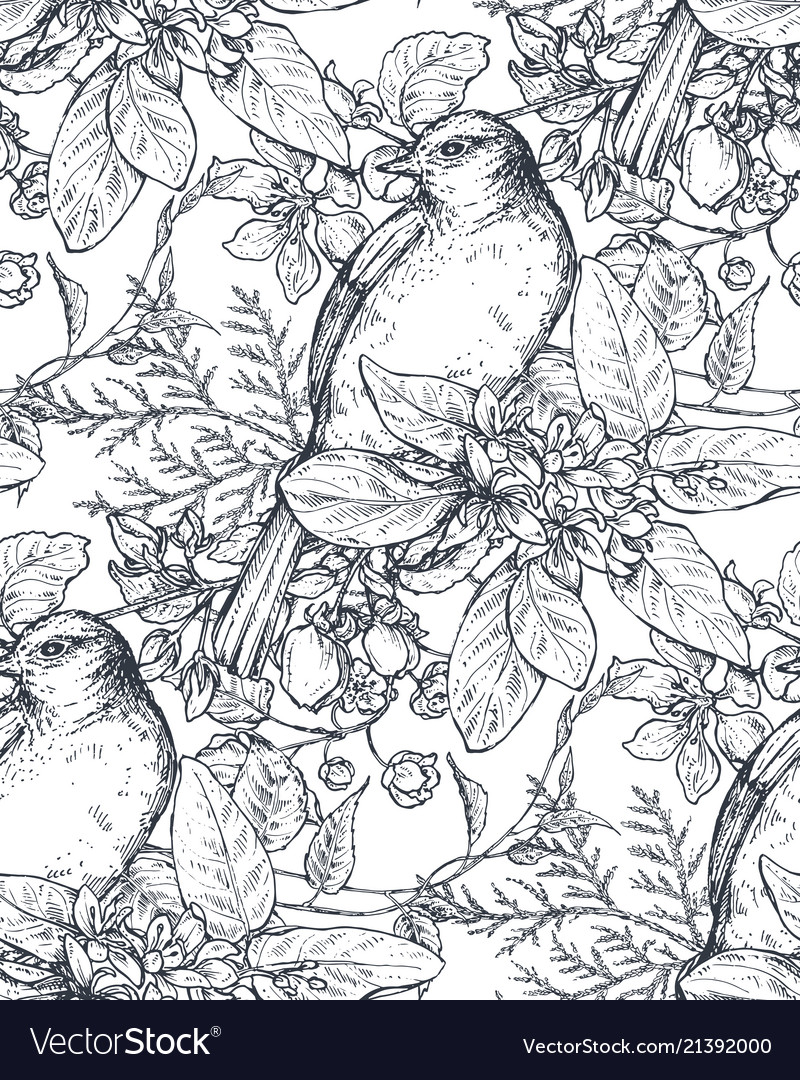 Seamless pattern with ink hand drawn birds on