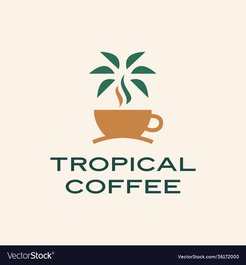 Tropical coffee palm tree logo icon
