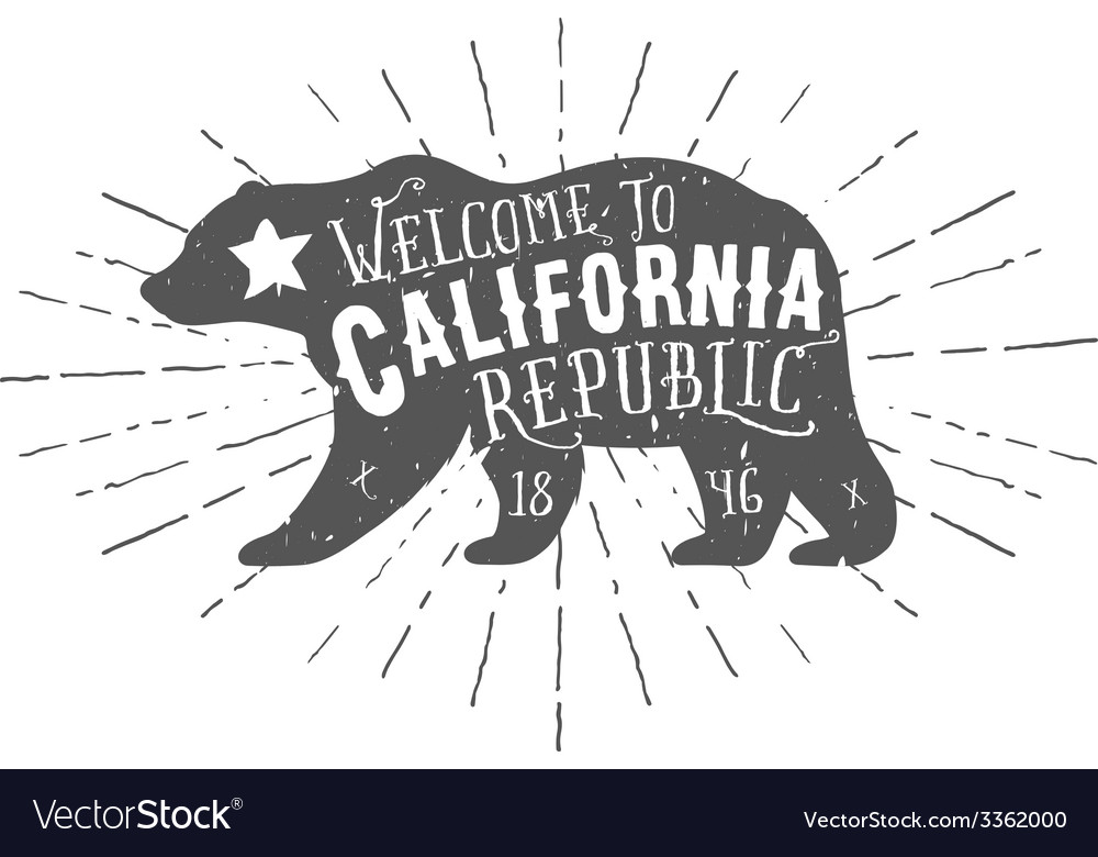 Vintage California Republic bear with sunbursts