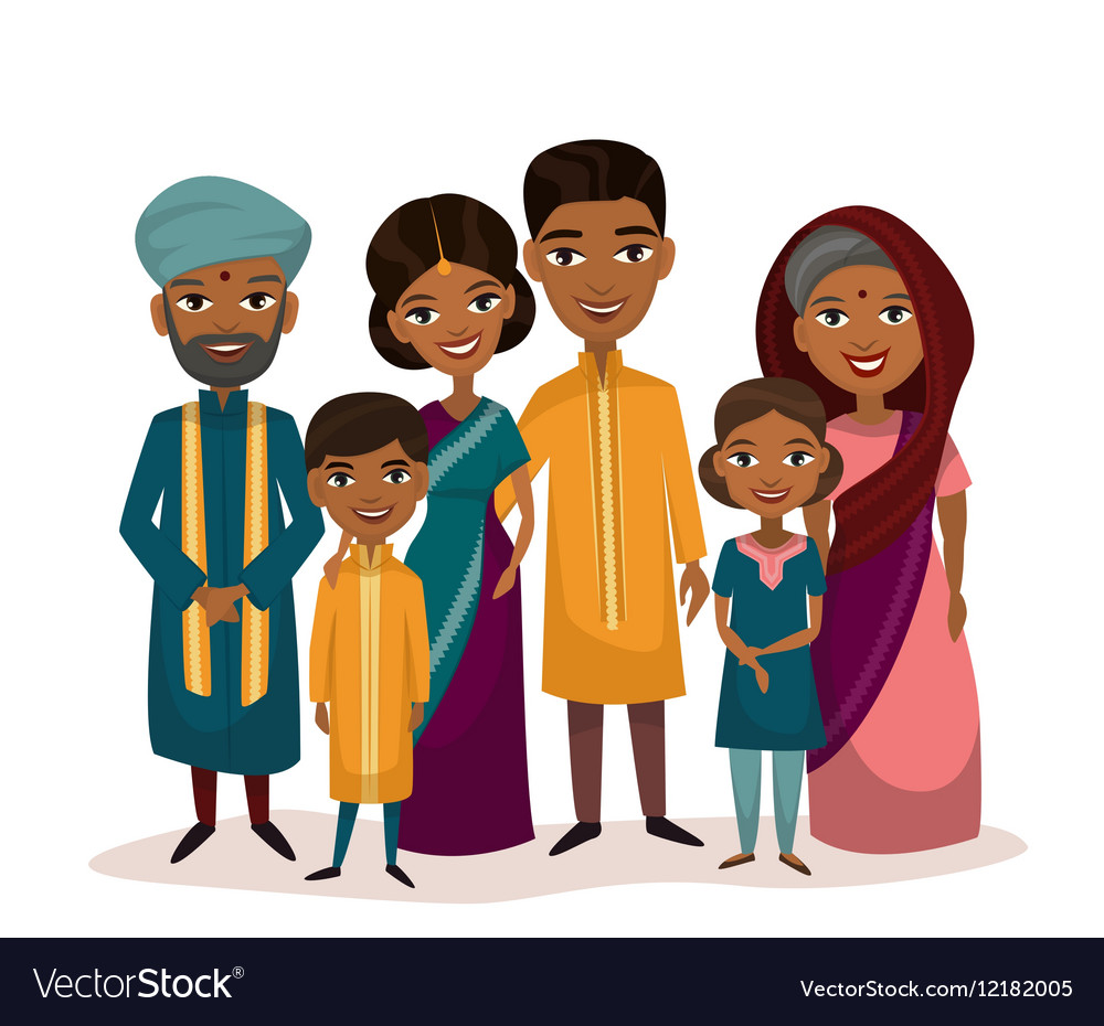 Big Happy Indian Family Cartoon Concept Royalty Free Vector