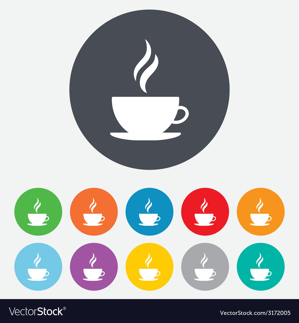 Coffee cup sign icon hot button