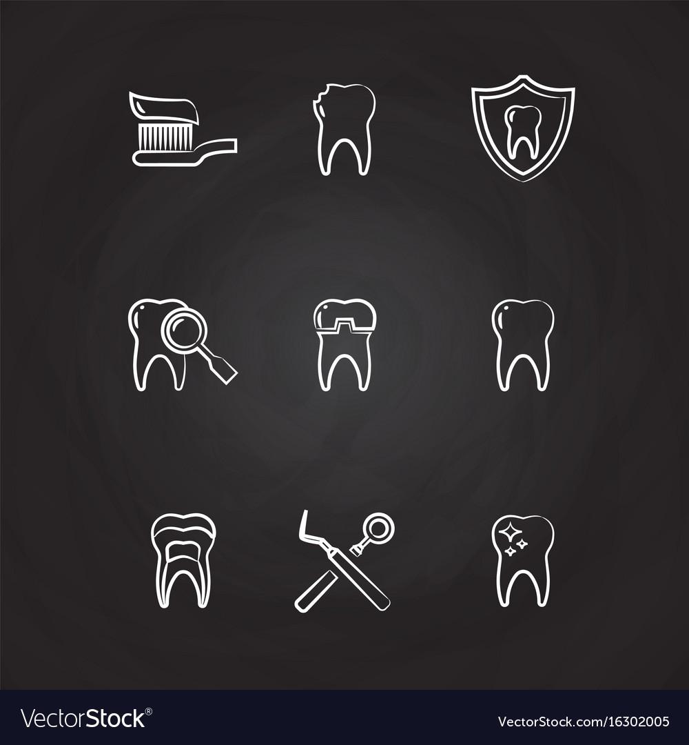 Dental icons set - teeth line icons on chalkboard