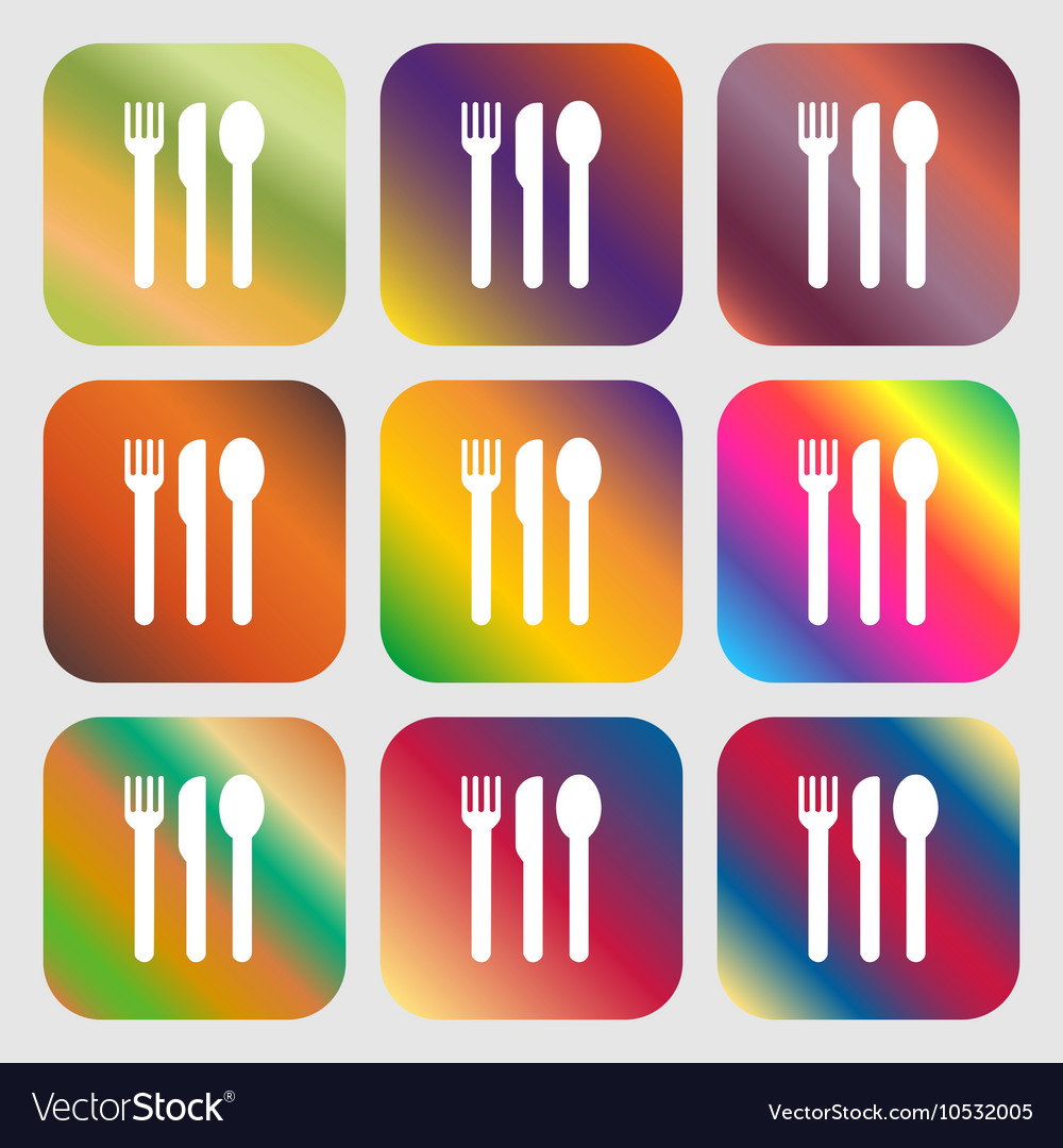 Fork knife spoon icon Nine buttons with bright