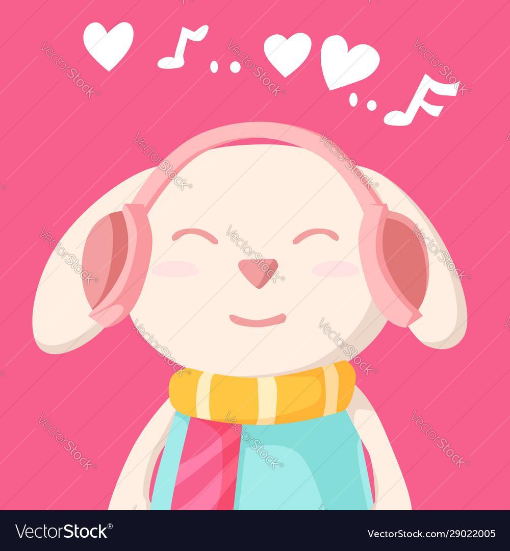 Happy valentines day with bunny rabbit listening