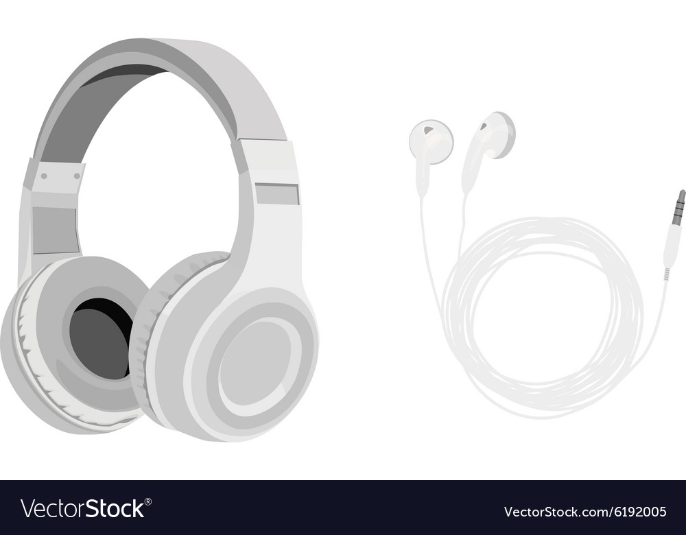 Headphones and earphones vector image