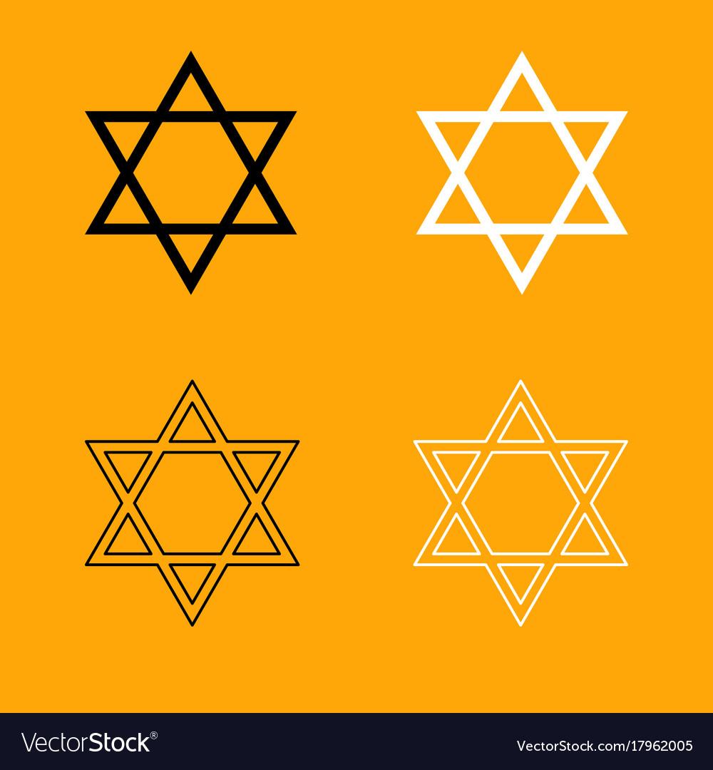 Jewish star of david set black and white icon vector image