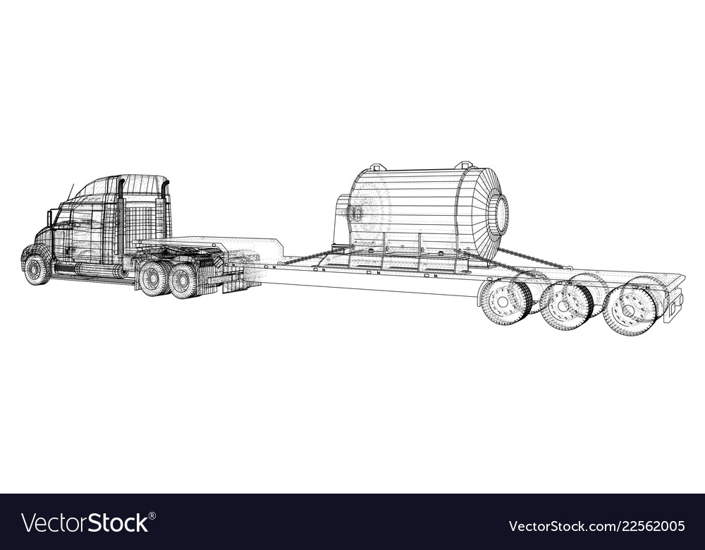 Model trailer truck wire-frame cargo vehicle Vector Image