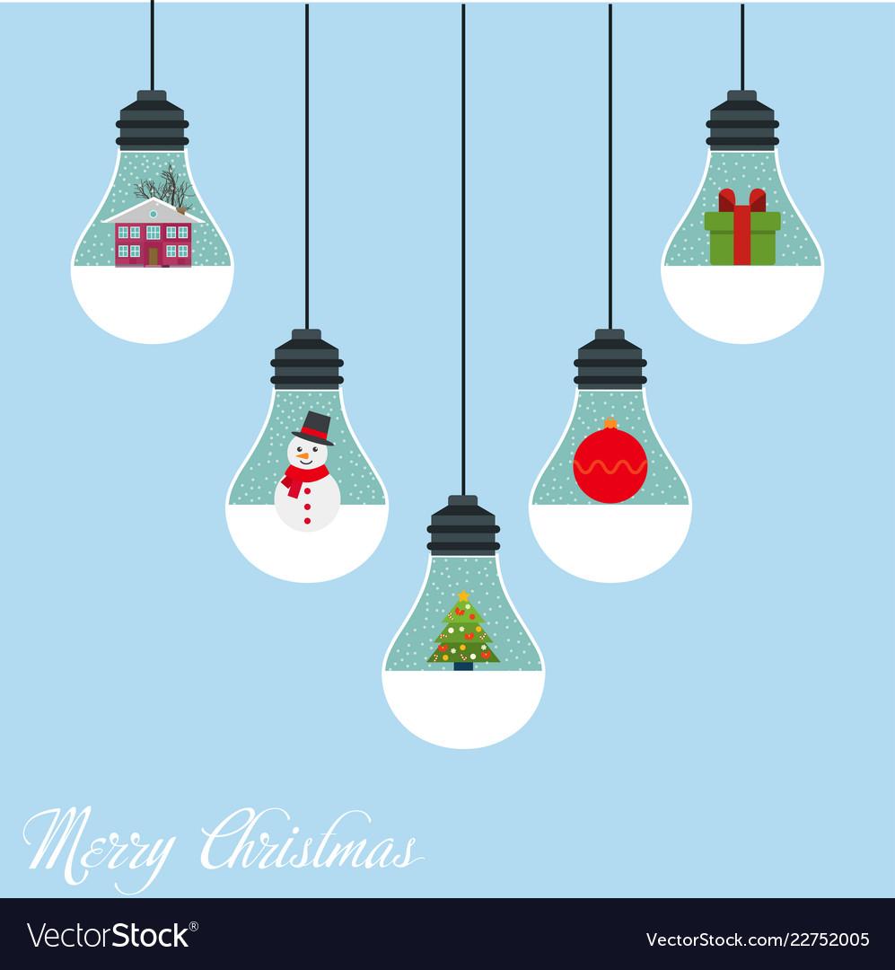 Modern christmas card flat stylish design