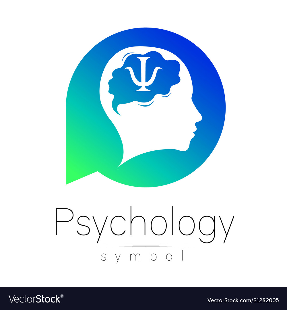 Modern head sign of psychology human in a circle
