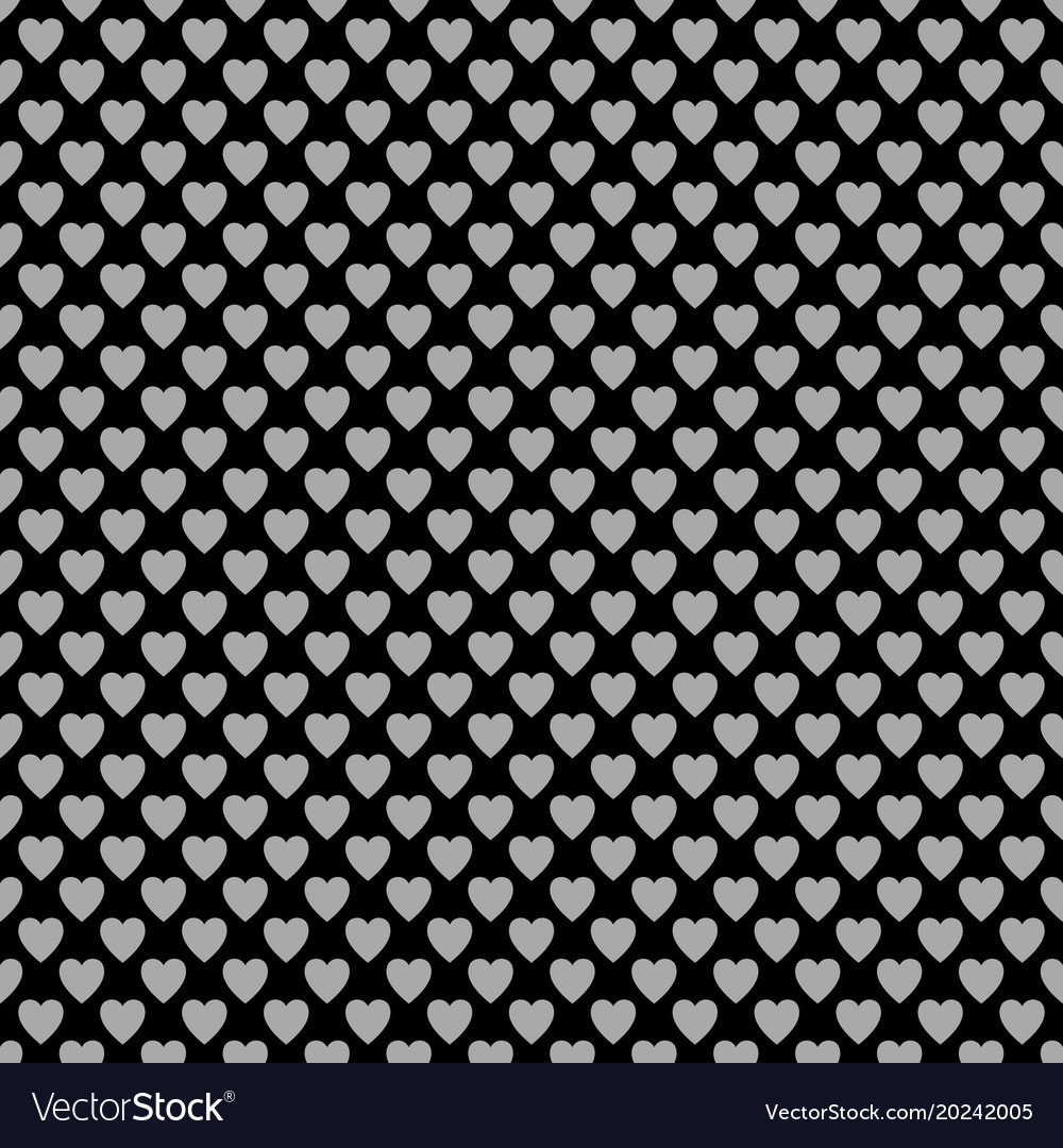 Seamless monochrome heart pattern background vector image