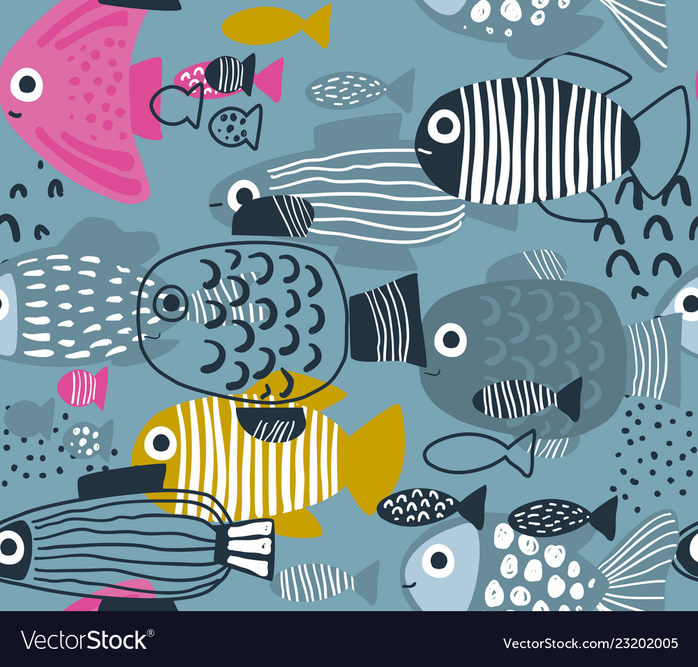 Seamless pattern with colorful funny fishes