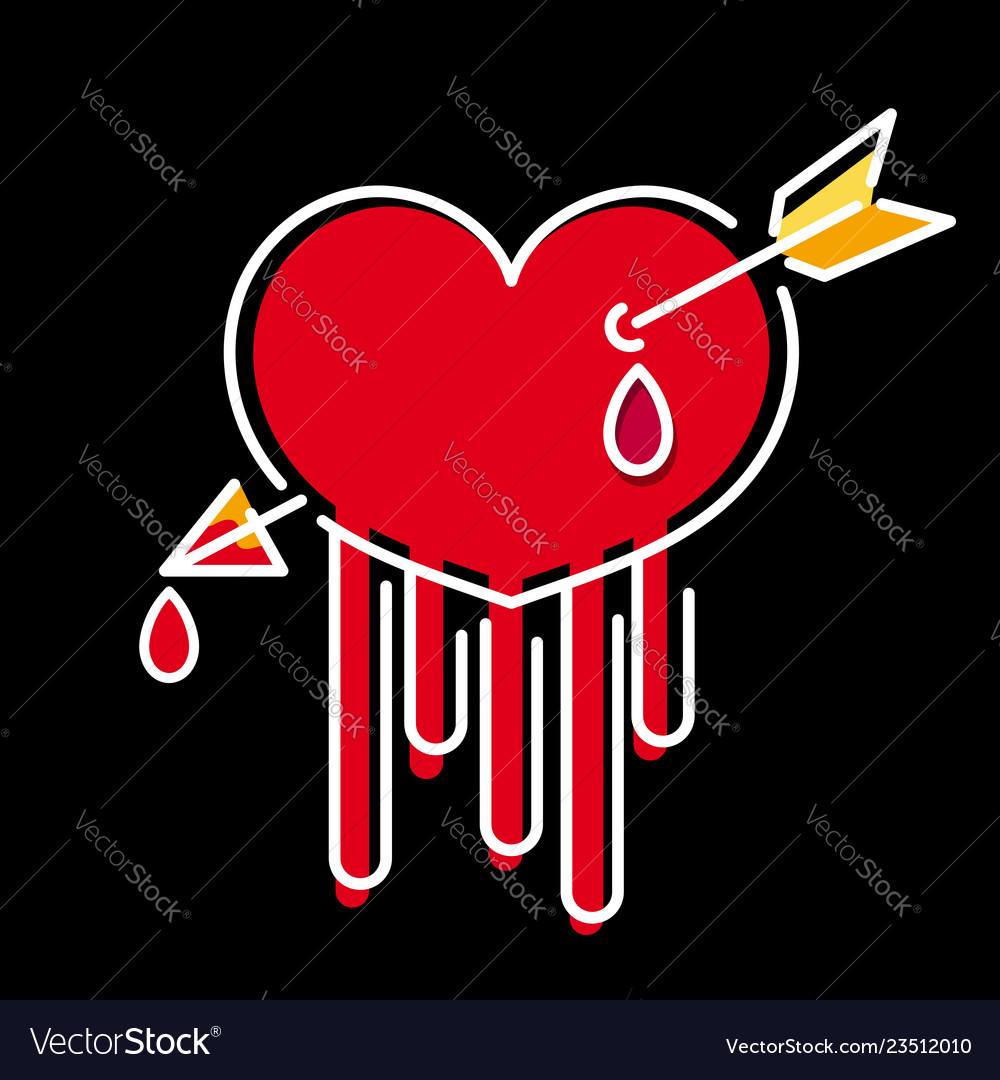Beautiful hand drawn heart with arrow and blood