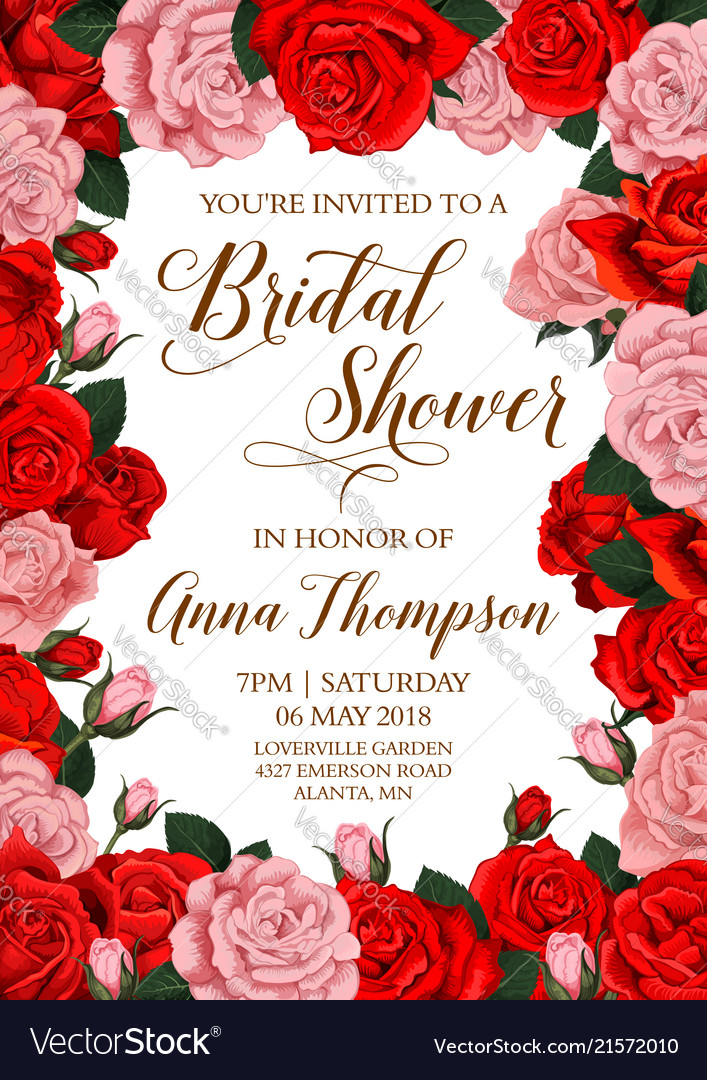 Bridal Shower Invitation Card With Flower Frame