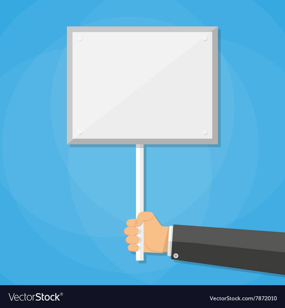 Cartoon businessman hand holding empty sign plate