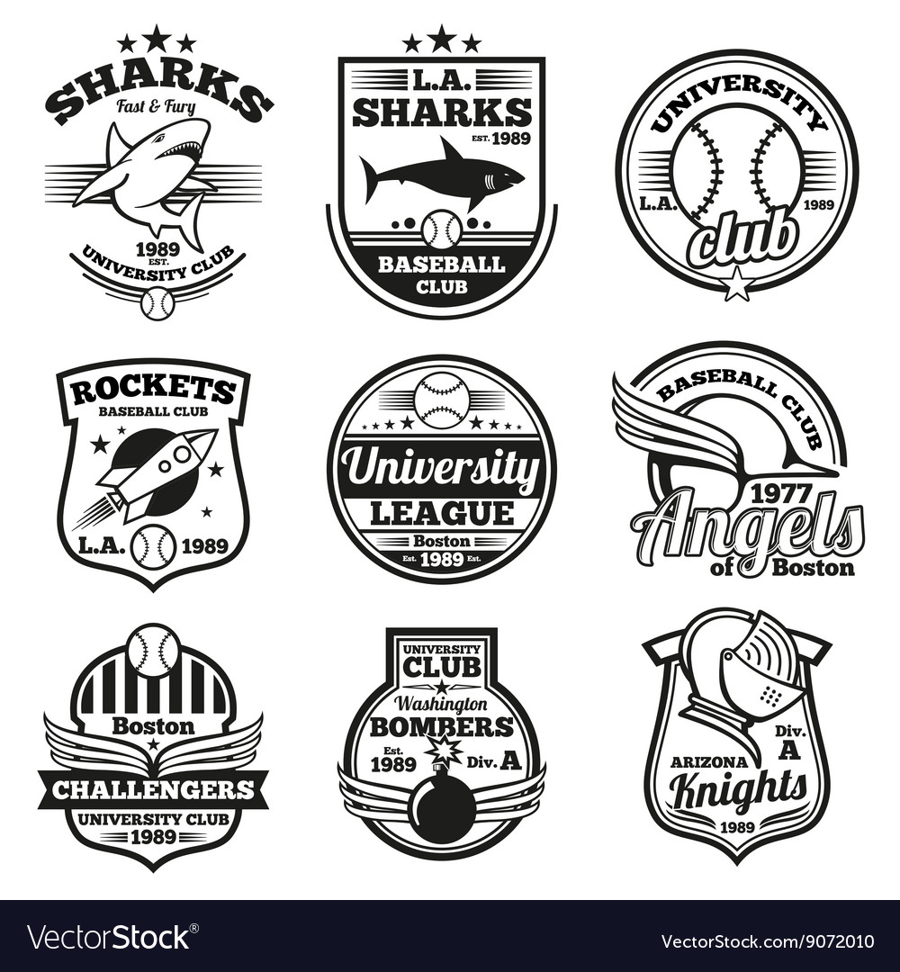 College athletic labels logos badges and