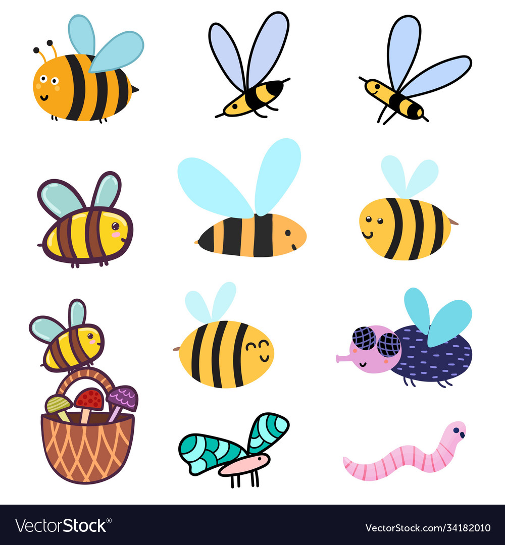 Cute bees set clipart bundle with funny colorful